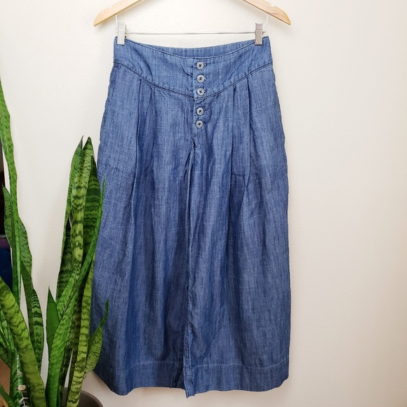 Pilcro and the Letterpress Denim - Anthro Pilcro High Rise Cropped Wide Leg Jeans